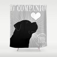 rottweiler Shower Curtains featuring ROTTWEILER – My Companion - Grey by TRArtStudios