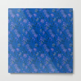 Poppy Floral - Blue Metal Print