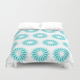 Turquoise Modern Sunbursts Duvet Cover