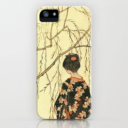 Girl under a Willow Tree by Emil Orlik - Czech Japonist Drawing iPhone Case