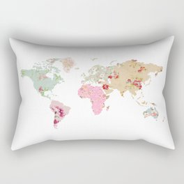 Pastel World Map Poster Rectangular Pillow