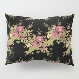 Colorful floral pattern on a black background . Pillow Sham