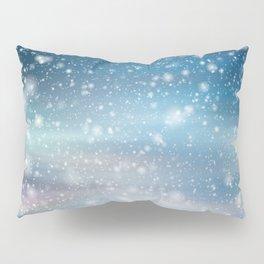 Snow Bokeh Blue Pattern Winter Snowing Abstract Pillow Sham