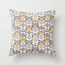 neutral colored woodland critters chevron Throw Pillow