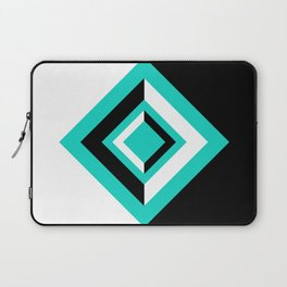 Teal Black and White Geometric Shapes Digital Illustration - Artwork Laptop Sleeve
