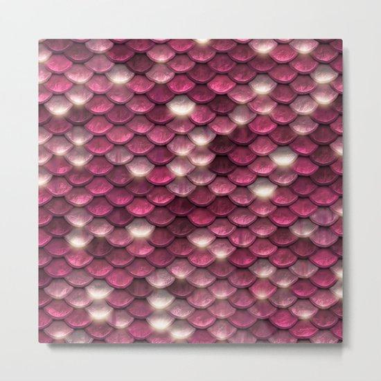Pink sparkling mermaid scales Metal Print