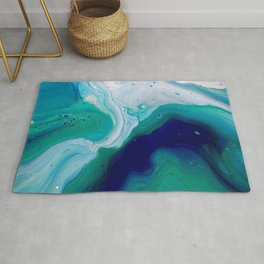 Abstract Mable Colorful Blue Turquoise Fluid Acrylic Painting Design Rug