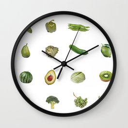 Pattern Green pepper kiwi cucumber lime pear salad Wall Clock