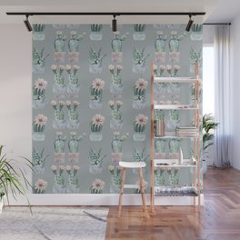 Potted Cactus Plants Gray Wall Mural
