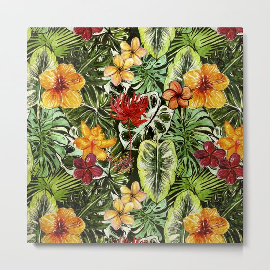 Tropical Vintage Exotic Jungle Flower Flowers - Floral watercolor pattern1on #Society6 Metal Print