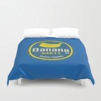 sticker Duvet Covers featuring Banana Sticker On Blue by Karolis Butenas