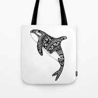 killer whale Tote Bags featuring Killer Whale by Emma Barker