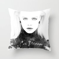 cara delevingne Throw Pillows featuring Cara Delevingne by Esther