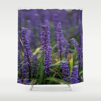lavender Shower Curtains featuring Lavender by Tracy66