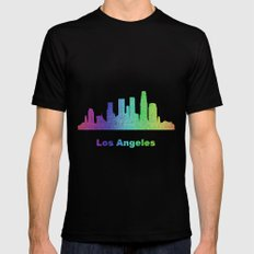 Rainbow Los Angeles skyline Black Mens Fitted Tee MEDIUM
