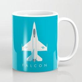 F-16 Falcon Fighter Jet Aircraft - Cyan Coffee Mug