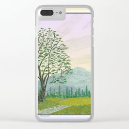 OREGON ASH TREE IN SPRINGTIME VINTAGE PENCIL COLOR DRAWING Clear iPhone Case