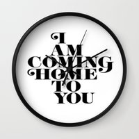 home sweet home Wall Clocks featuring Home by Maheva K