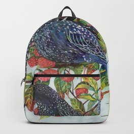 Starlings dogwood berries leaves branches Backpack