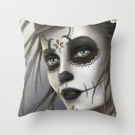 Day of the Dead Sugar Skull Girl Ultra HD Throw Pillow
