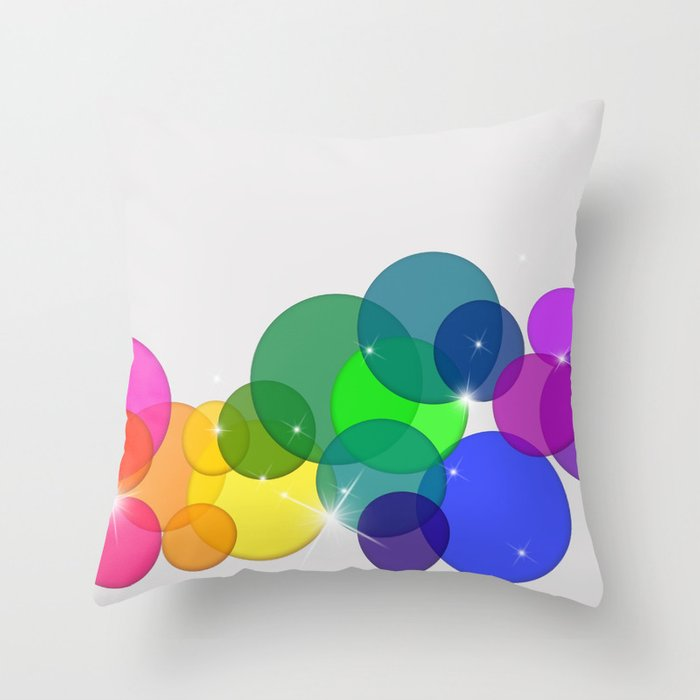 Translucent Rainbow Colored Circles with Sparkles - Multi Colored Throw Pillow