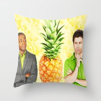 psych Throw Pillows featuring Psych The Pineapple by KP Designs