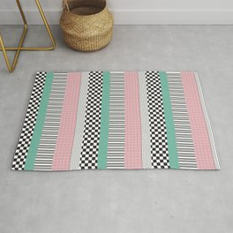 Pink and Teal Striped Pattern Rug