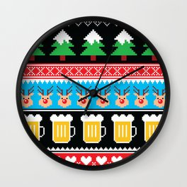 Vintage christmas nodric knitted illustration pattern with beer, reindeer, heart. Cozy Christmas sweater, jumper. Wall Clock