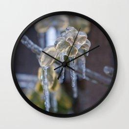 Frozen Leaves Wall Clock