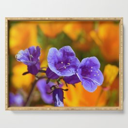 Purple Wildflowers with Gold Poppies by Reay of Light Photography Serving Tray