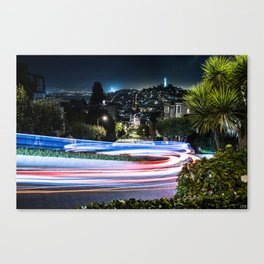 Light trail - Lombard Street - San Francisco Canvas Print