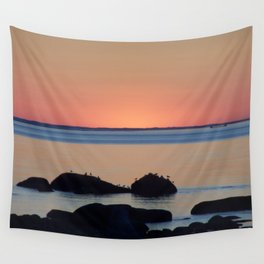Peaceful Sunset Ship and Sea Wall Tapestry