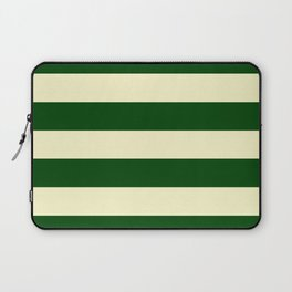 Dark Emerald Green and Cream Large Stripes Laptop Sleeve