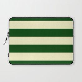 Dark Emerald Green and Cream Large Stripes Laptop Sleeve