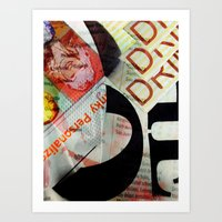 newspaper Art Prints featuring Abstract Newspaper by bmp528