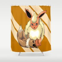 eevee Shower Curtains featuring Playing Around by thegamingmuse