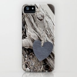 Beach Love Slate Heart on sea washed driftwood iPhone Case