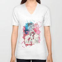 marie antoinette V-neck T-shirts featuring Marie Antoinette by Phie Hackett