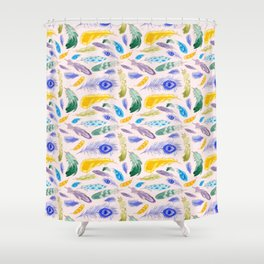 Jewel Tone Feathers Shower Curtain