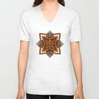 art deco V-neck T-shirts featuring Art Deco Brooch by Lyle Hatch