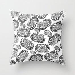 Modern hand drawn black white watermelon pattern Throw Pillow