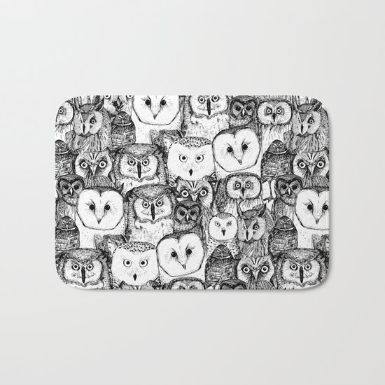 just owls black white Bath Mat