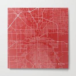 Fort Wayne Map, USA - Red Metal Print