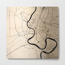 Bangkok Thailand Minimal Street Map - Gold Metallic and Black II Metal Print