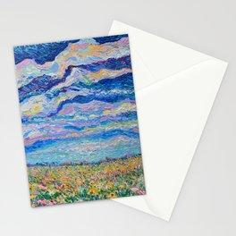 Spring Meadow - Palette Knife acrylic floral landscape by Adriana Dziuba Stationery Cards