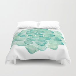 Watercolor Succulent print in seafoam green Duvet Cover