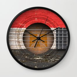 Old Vintage Acoustic Guitar with Egyptian Flag Wall Clock
