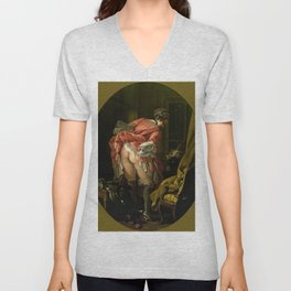"François Boucher ""The Raised Skirt (La Jupe relevée)"" Unisex V-Neck"