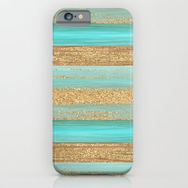 Turquoise Brown Faux Gold Glitter Stripes Pattern iPhone Case
