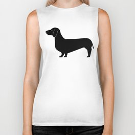 Dachshund silhouette minimal black and white dog lover home decor gifts accessories silhouette Biker Tank